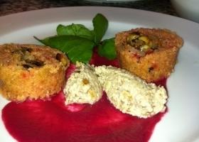 Roze aardpeer met walnoot en tarator